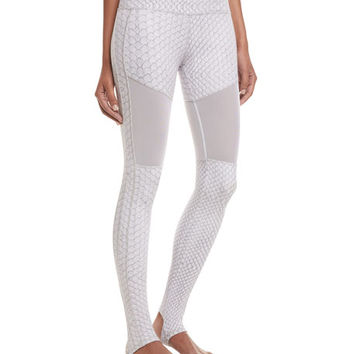 Varley Sycamore Ash Python Performance Leggings, White Pattern