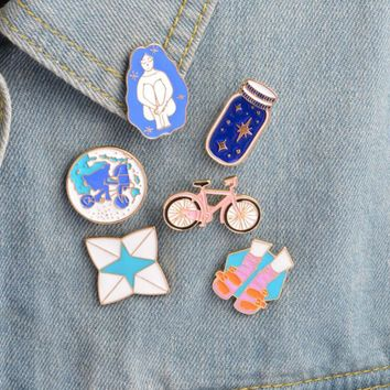 ShuangShuo Cartoon Bike Enamel Pins Wishing Bottle Riding Girl Shoes Origami Game Shoes Brooches for Women Jeans Christmas Gifts