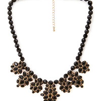 FOREVER 21 Beaded Faux Gemstone Necklace Black/Gold One