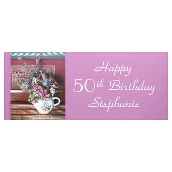 Personalized 50th Birthday Vintage Teapot Purple Banner