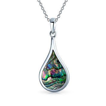 Teardrop Pear- Dangle Pendant Abalone Shell Necklace Sterling Silver