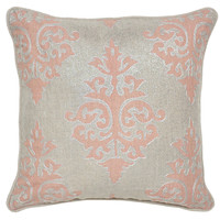 Shimmer 18x18 Cotton Pillow, Pink, Decorative Pillows