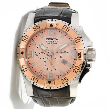 Invicta 10901 Men's Reserve Excursion Rose Gold Textured Dial Rose Gold Tone Bezel Chronograph Leather Strap Dive Watch