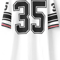 White Number 35 Striped Print Short Sleeve T-shirt