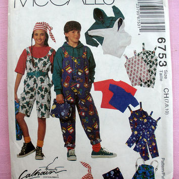 Boys' and Girls' Hooded Sweatshirt, T-Shirt, Overalls ,Back Pack, Lunch Bag and Hat Child Size 7, 8, 10 McCall's 6753 Sewing Pattern Uncut