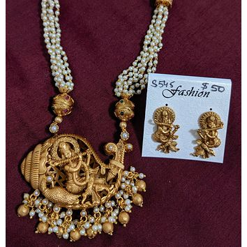 Multi stranded pearl chain necklace with Lord Krishna Pendant and stud earring set - Matte gold finish