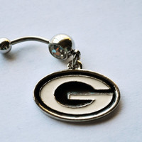 Georgia Bulldogs Belly Button Ring, Sports Navel Jewelry, College Football jewelry, georgia dogs belly button ring, belly piercing