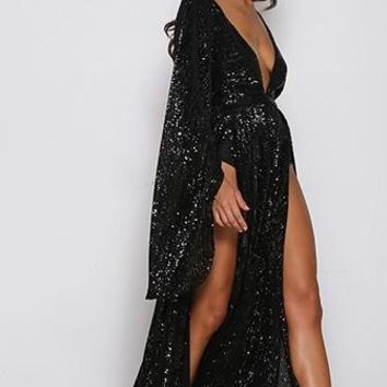 Speak Your Mind Black Sequin Long Bell Sleeve Plunge V Neck Double Slit Maxi Dress