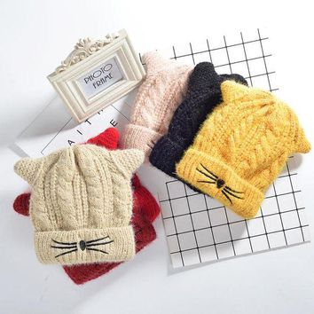 DCCKXT7 Women Cute Cat Ears Beard Embroidery Thickened Knit Hat  Winter Accessories