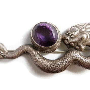 1940s Siam Sterling Silver Brooch, Dragon and Amethyst  Pin Sg'd Ethnic, Designer, Vintage Jewelry