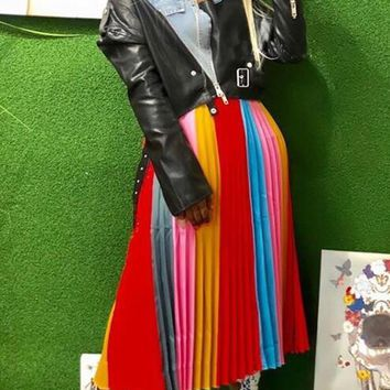 New Red Striped Pleated Rainbow High Waisted Christmas Elegant Long Skirt