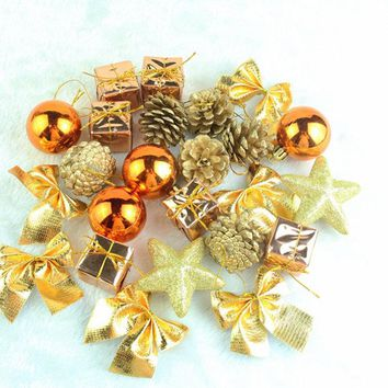 1Set/24Pcs Christmas Xmas Tree Hanging Ornament Balls Baubles Pendant Party Holiday Decor