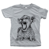 Kids Hand Printed African Lion Cub on  American Apparel Short Sleeve