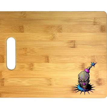 Purple and Blue Fun, Frightening, and Evil Clown 3D COLOR Printed Bamboo Cutting Board - Wedding, Housewarming, Anniversary, Birthday, Mother's Day, Gift