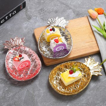 Gold/Silver/Rose Gold Pineapple Decorative Plate Cake Dish Ornaments Pineapple Storage Tray for Wedding Decoration Craft Gift