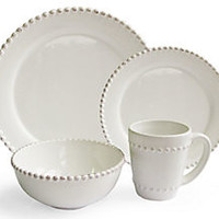 16-Pc Bianca Bead Dinnerware Set, Round