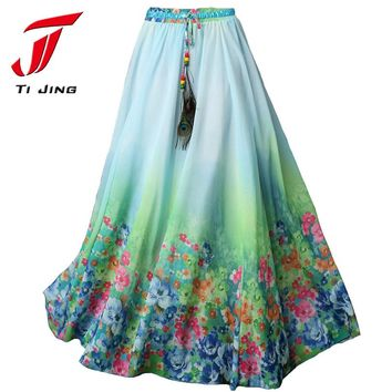 2017 Summer Plus Size Women Clothing Bohemian Floral Print Beach Chiffon Flowy Long Maxi Skirts Of Tulle Saia Faldas B4328
