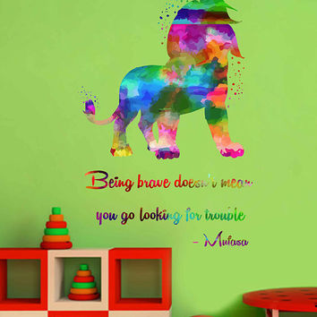 kcik2041 Full Color Wall decal Watercolor Character Disney Sticker Disney children's room The Lion King quote