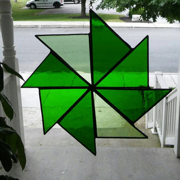 Stained Glass pinwheel suncatcher in shades of green, glass art, suncatchers,stained glass,quilt square, art & collectables, hip chick glass