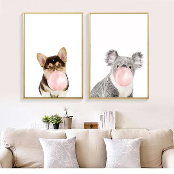 Zebra Giraffe Dog Balloon Canvas Painting Animals Nordic Poster Wall Art Posters And Prints Wall Pictures Kids Room