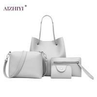 4PCS Women Casual Leather Top-handle Handbags Girls Shoulder Bag Tote Ladies Messenger Crossbody Bag Composite Bag Clutch Wallet