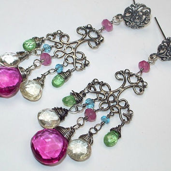 Gemstone Chandelier Earrings Multicolor Wire Wrapped Oxidized Silver Handmade Filigree Earrings Colorful