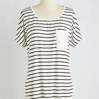 Nautical Long Short Sleeves Composed for the Camera Top in White