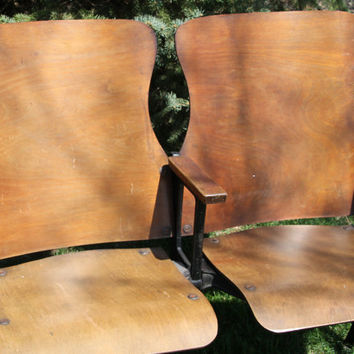 Vintage 1920 Folding Theater Seats with Wood and Rot Iron