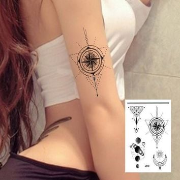 1sheet Multi-styles big Arm Sleeve back Temporary Tattoo Sticker sexy girls compass planet Sun Moon Black tatuagem 24model Taty