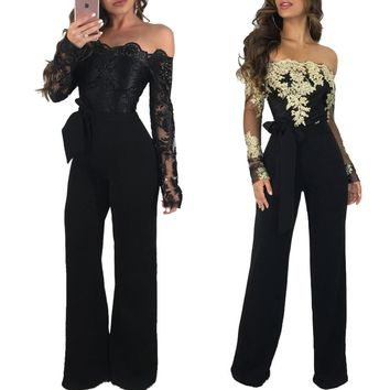 Embroidery Lace Applique Belted One Piece Long Jumpsuit Elegant Slash Neck Mesh Full Sleeve Backless Wide Leg Rompers Women