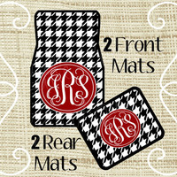 Custom Personalized Set of Car Floor Mats - Front and Rear Back, Monogrammed Car Mats, Houndstooth
