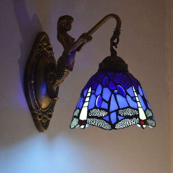 Tiffany Mermaid Wall Lamp Dragonfly Stained Glass Lampshade Wall Sconce Bedroom E27 110-240V