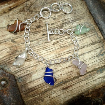 beautiful sterling silver beach glass charm bracelet