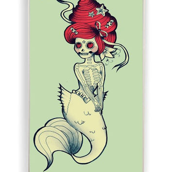 iPhone 4 Case - Hard (PC) Cover with Day of The Dead Mermaid Plastic Case Design