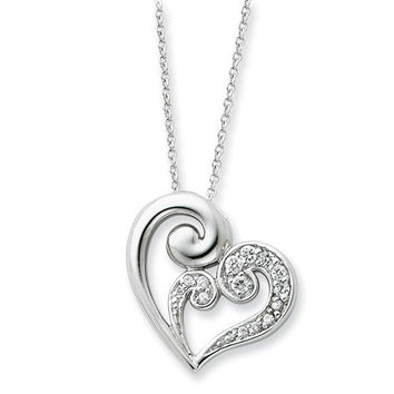 Sterling Silver And CZ A Mothers Journey 18in Heart Necklace
