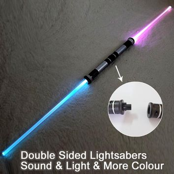 2 Pieces Sound Lightsaber Cosplay Props Kids Double Light Saber Toy Sword for Boys Christmas Gifts