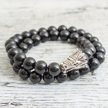 Douple wrap black onyx beaded silver Dragon head stretchy bracelet, made to order yoga bracelet, mens bracelet, womens bracelet