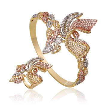 Newness Especially Butterfly Full Micro AAA Cubic Zirconia Copper Bangle Ring Set Women Engagement Wedding Fashion Jewelry