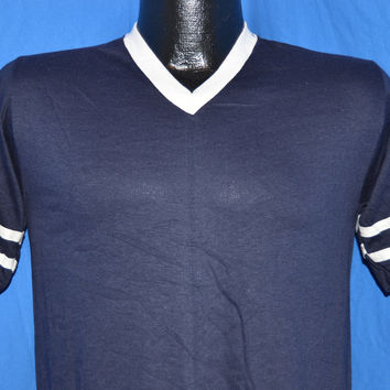 70s Deadstock Blue & White Striped V-Neck Jersey t-shirt Small