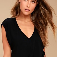 Free People Tees For My Jeans Black Bodysuit