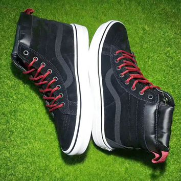Vans Black Red Ankle Boots Old Skool Canvas Flat Sneakers Sport Shoes G-CSXY