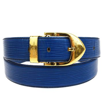 Auth LOUIS VUITTON Ceinture Classic Belt Epi Leather Blue France 110/44 09B841