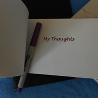 Small handmade blank book with hand-made enamel inset: My Thoughts