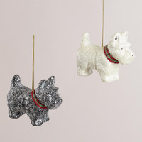 Paper Pulp Scottie  Dog Ornaments, Set of 2 - World Market