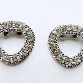 "Vintage 1940 - 1950's Signed ""TipToe"" Sparkling Clear Rhinestone Shoe Clips, Bridal , Prom also used as Purse Clips, Hat Clips"