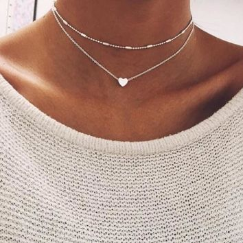 Newest Lovely Style Double layers Love Heart Adjustable Necklace Multilayer Chain Choker Necklace For Gift 2 Pcs/Set