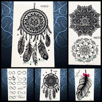 Hot Sale Temporary Tattoo Sticker Black Dreamcatcher Tatoo Waterproof Women Henna Body Arm Art Dream Catcher Tattoo Stickers PH3