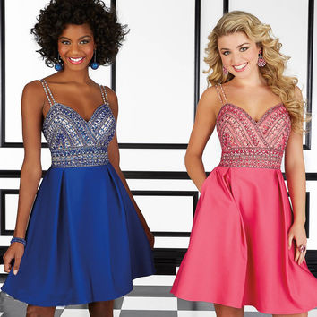 Design Beaded Crystal A-Line Fiesta Cocktail Dresses 2016 Sexy Blue/Pink Plunging Back Sweetheart Neck Formal Dresses Plus Size
