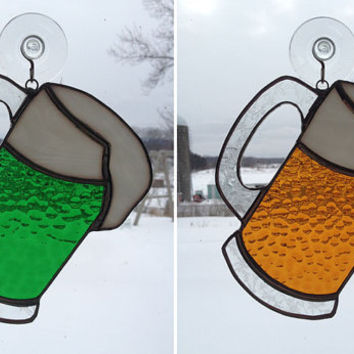 Handmade Stained Glass Mug of Beer Suncatcher