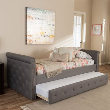 Baxton Studio Swamson Modern and Contemporary Grey Fabric Tufted Twin Size Daybed with Roll-out Trundle Guest Bed   Set of 1